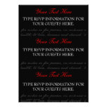 Red, Black, White Rose RSVP cards Personalized Invitation