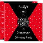 Red Black White Spots 13th Birthday Sleepover Card