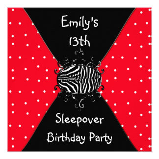 Red Black White Spots 13th Birthday Sleepover Invites
