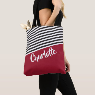 Red Black White Striped Pattern Personalized Name Tote Bag