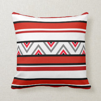 Red Black White Stripes Cushion