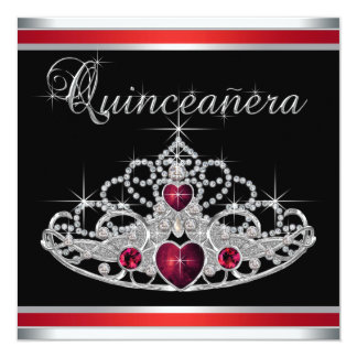 Red Black White Tiara Quinceanera Card