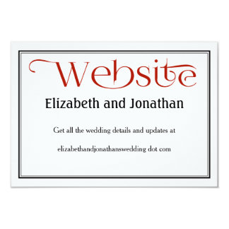 Red Black & White Wedding Website Details Card