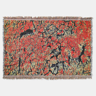 Red Black White Yellow Cracked Earth Throw Blanket