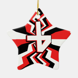 Red, Black, & White Zigzag Burst Printed Ceramic Ornament