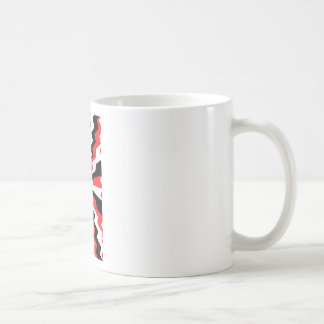 Red, Black, & White Zigzag Burst Printed Coffee Mug