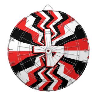 Red, Black, & White Zigzag Burst Printed Dartboard