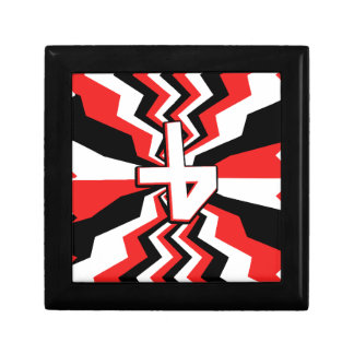 Red, Black, & White Zigzag Burst Printed Gift Box