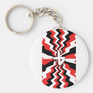 Red, Black, & White Zigzag Burst Printed Key Ring
