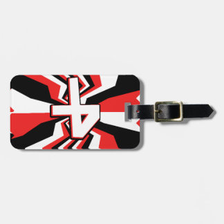 Red, Black, & White Zigzag Burst Printed Luggage Tag