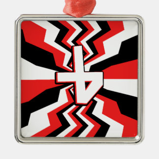 Red, Black, & White Zigzag Burst Printed Metal Ornament