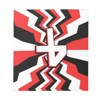 Red, Black, & White Zigzag Burst Printed Notepad
