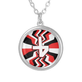 Red, Black, & White Zigzag Burst Printed Silver Plated Necklace