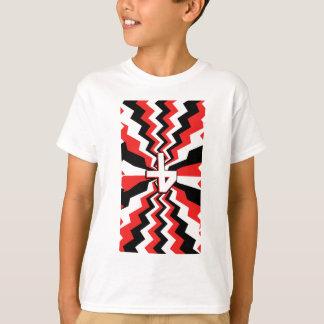 Red, Black, & White Zigzag Burst Printed T-Shirt