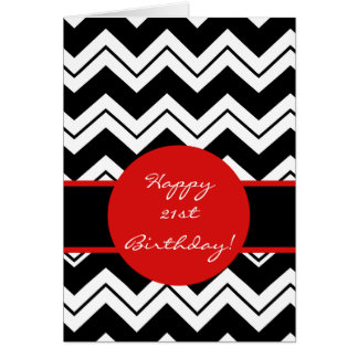 Red Black & White Zizzag Chevron 21st Birthday Greeting Card