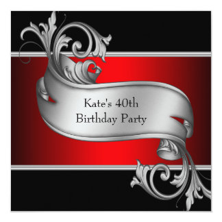 Red Black Womans 40th Birthday Card