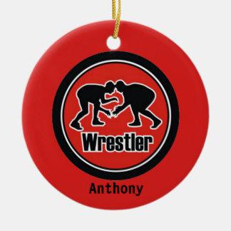 Red & Black Wrestler Christmas Ornament