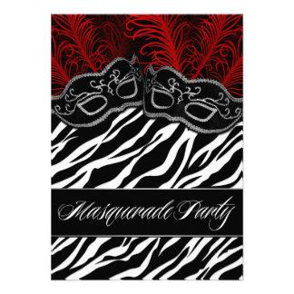 Red Black Zebra Masquerade Ball Party Invitations