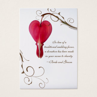 Red Bleeding Heart Charity Wedding Favor Card