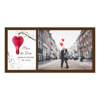 Red Bleeding Hearts Wedding Save the Date Card