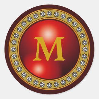 Red Bling Bling Monogram Round Sticker