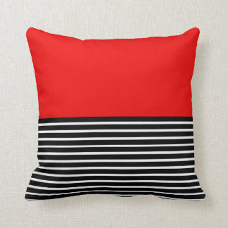 Red Block Black White Stripes Cushion