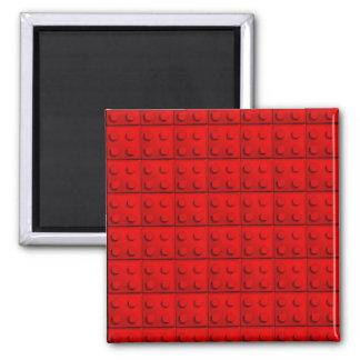 Red blocks Pattern Square Magnet