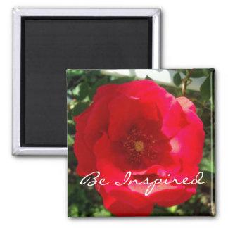 Red Bloom Inspiration Square Magnet
