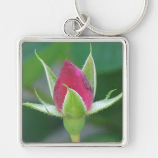 Red Bloom Silver-Colored Square Key Ring