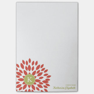 Red Blooming Blossom with Green Monogram Post-it® Notes