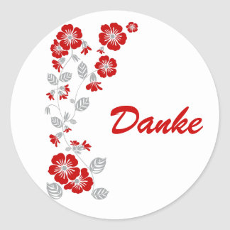 red blooms classic round sticker