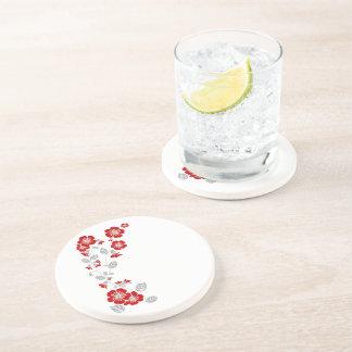 red blooms beverage coasters
