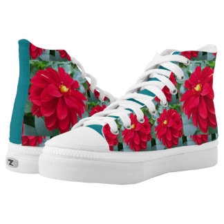 Red Blooms High Top Shoes Printed Shoes