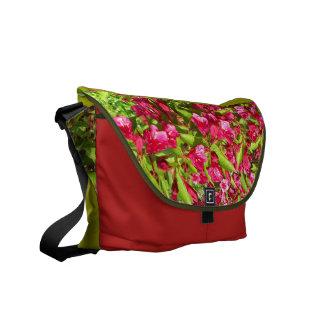 red blooms messenger bag