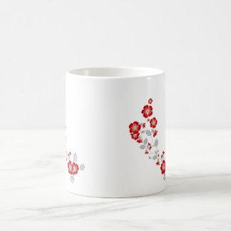 red blooms coffee mug