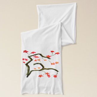 Red Blossom accent White Scarf