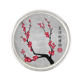 """Red blossom delight """"Gift of life"""" Lapel Pin"""