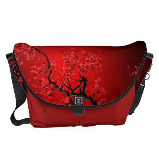 Red Blossom Medium Messenger Bag Outside Print