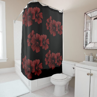 Red blossom pattern ~editable background shower curtain