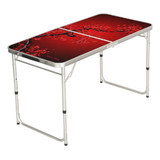 Red Blossom Tailgate Size Beer Pong Table