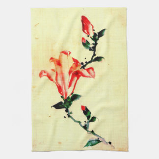 Red Blossom with Buds 1840 Towel