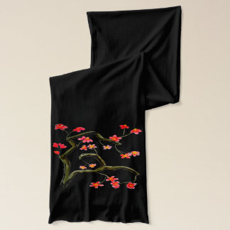Red Blossoms accent on Black Scarf