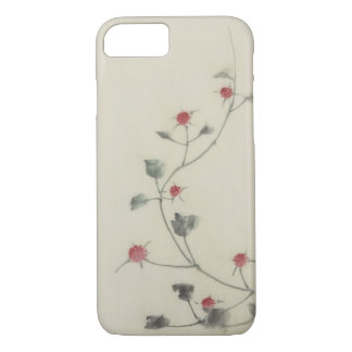 Red Blossoms on Vine Hokusai Fine Art iPhone 7 Case