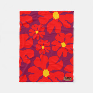 Red Blossoms Purple Fleece Blanket