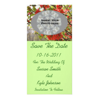 Red Blossoms Wedding Save The Date Photo Card