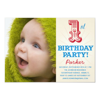 RED & BLUE 1ST  | FIRST BIRTHDAY INVITATION