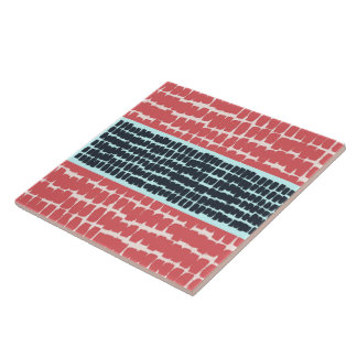 red & blue Abstract Painterly Marks Large Square Tile