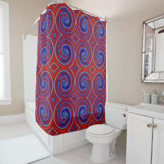 Red Blue Abstract Swirl Pattern Shower Curtain