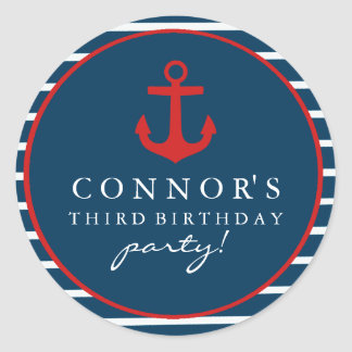 Red & Blue Anchor Birthday Sticker
