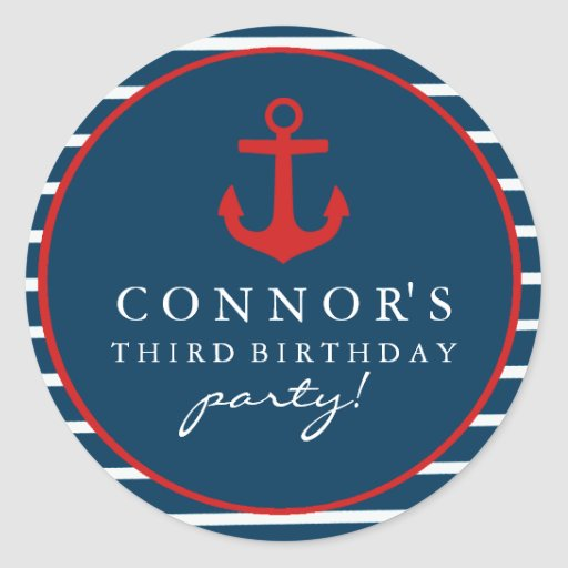 Red & Blue Anchor Birthday Sticker